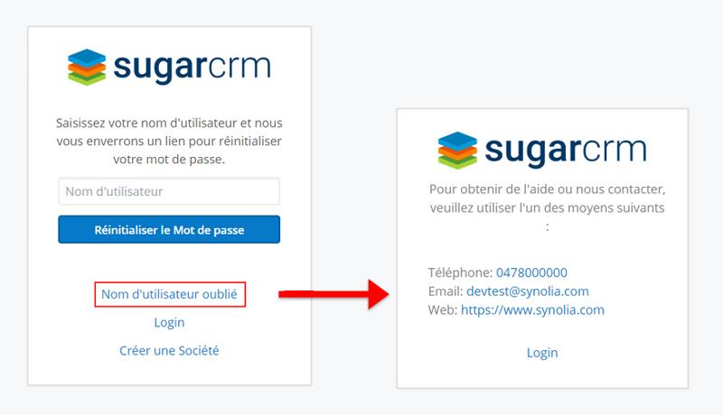 Nouveau mot de passe Sugar 9.2