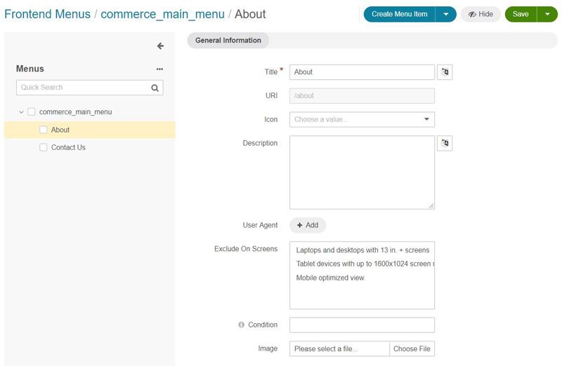 Exemple de paramétrage d'un noeud dans le back office OroCommerce