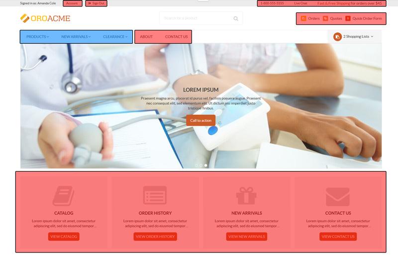 Orocommerce Haut de page front office