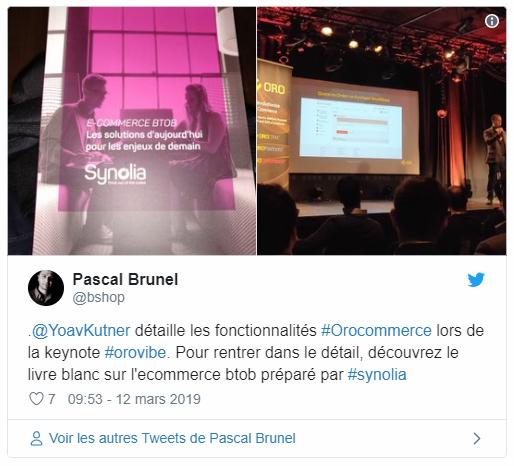 Tweet de Pascal Brunel Orovibes Paris 2019