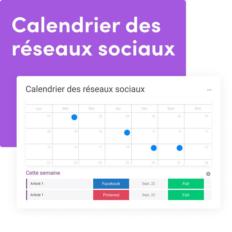 dashboard monday.com calendrier des réseaux sociaux